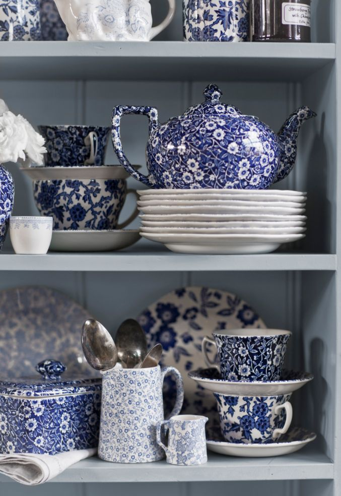 "Blue Calico by Burleigh: Unique to Burleigh this pattern was derived from early Victorian patterns which had their roots in Chinese porcelain. ""Repinned by Keva xo""."
