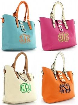Monogramed Bags - Orange Please: Monograms Buckles, Shoulder Bags, Diapers Bags, Monograms Totes, Bridesmaid Gifts, Monograms Bags, 52 Cutesydoodl, Buckles Shoulder, Teacher Bags