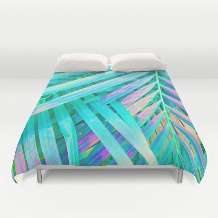 Green Duvet, Full Queen King Duvet, Coastal Bedroom Decor, Palm Leaf Bed Cover, Microfiber Tropical Bedding, Mint Comforter, Tropical Glam by OlaHolaHolaBaby on Etsy