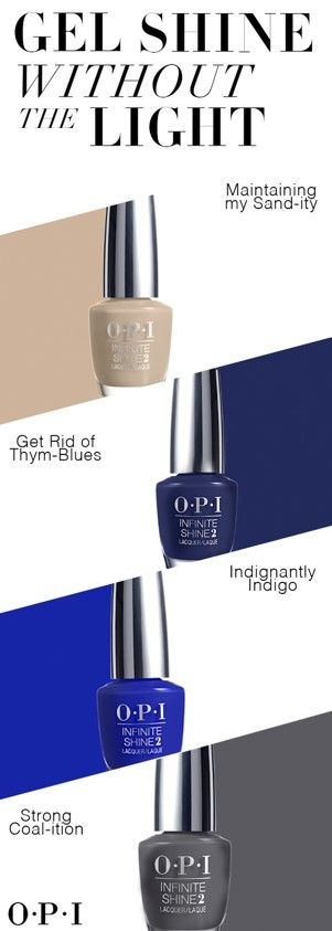 Shine bright without the light. Get salon quality nail color with OPI Infinite Shine – the no-light gel lacquer that offers the high-shine of a gel manicure with the ease of application. This 3-step system guarantees up to 10 days of wear thanks to OPI's exclusive high-gloss formula. Available in 100 runway-inspired shades, changing up your look is easy as 1-2-3.