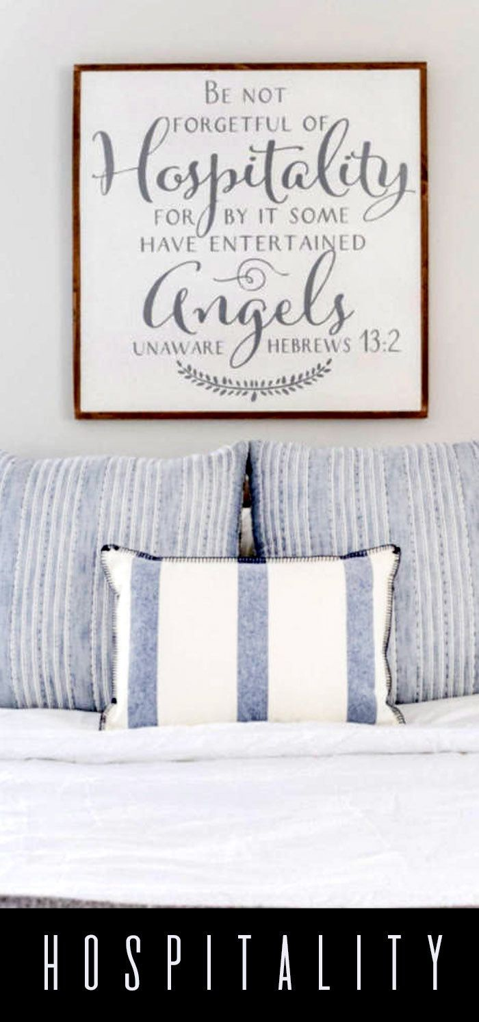 Hospitality is a good work. Open your doors, invite people in. Welcome all. Because, we may entertain Angels unware.  Love this verse. Great art for the guest room, or family room. #wallart #scripture #scriptureart #hospitality #gifts #wordstoliveby #wordart #rustic #handmade #affiliatelink