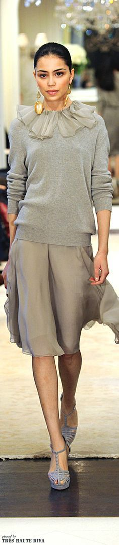 Ralph Lauren ~ Grey Cashmere Sweater w Silk Collar + Silk Pleated Skirt 2014