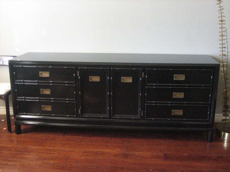 European Paint Finishes: High gloss lacquer, black faux bamboo dresser/console  with brass