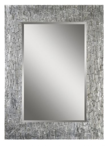 The border of the Santa Fe beveled mirror is rich and refined with its aged silver leafing and exquisite bark like texture.