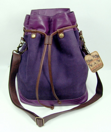 Vintage Plum Suede and Leather Duffle Bag