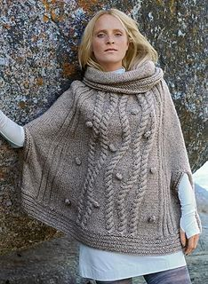 This superb cape mixes cables and knitted bobbles for a very trendy look. In soft Cocoon yarn, on size 6.5 mm needles, this pattern features a range of pattern stitches and cables - a cable needle is also required.