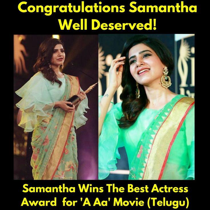 Congratulations Samantha on getting the Best Actress Award For #AAa Telugu Movie ! #IIFAUtsavamAwards2017 #iifa #bestactressaward