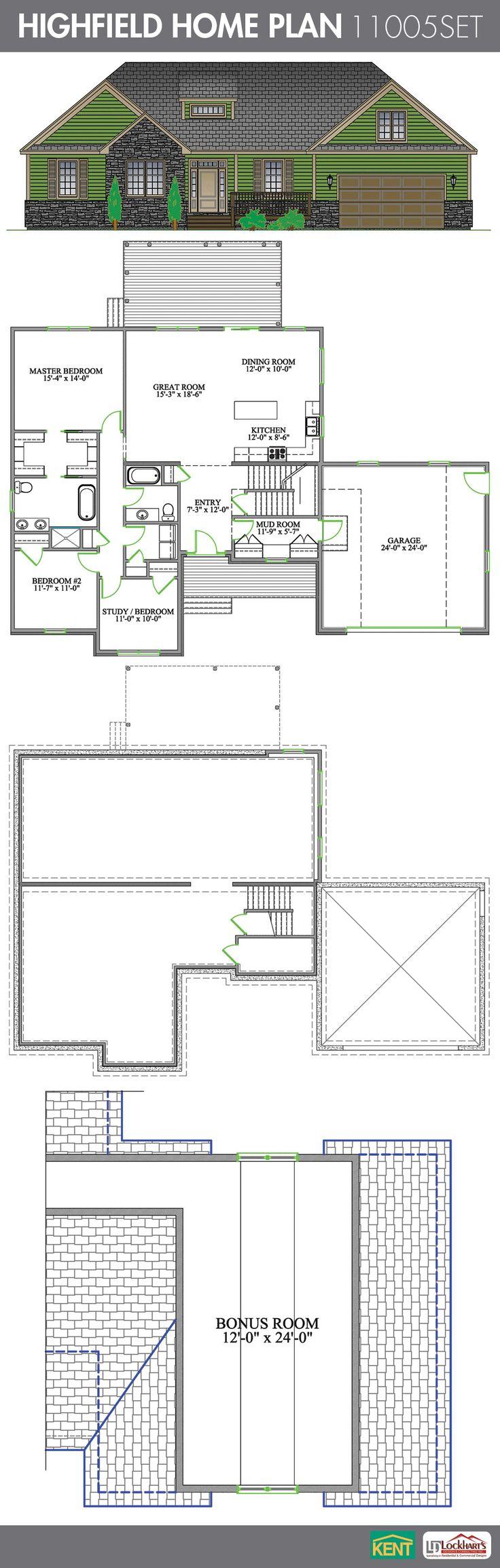 Highfield 3 Bedroom, 2 Bath Home Plan. Features: Open Concept Great Room/