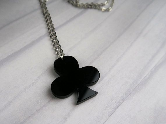 Black Club Necklace, Playing Cards suits. Rockabilly. Vegas Casino Collection.Retro, Pin up jewellery