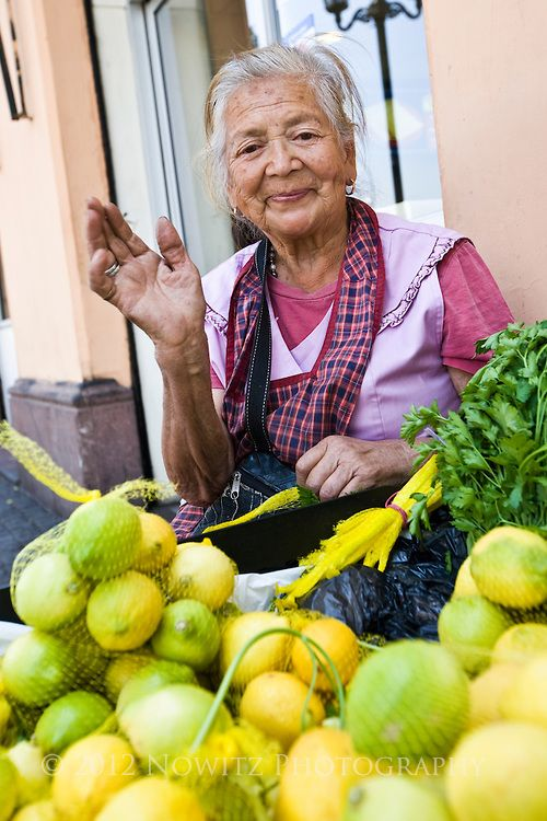 Santiago, Chile. Maria Galvin selling Lemons near Central Market.