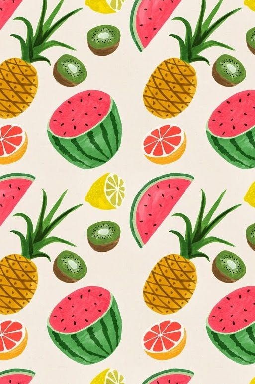 small food wallpapers: Summer Fruits Wallpaper {pineapple And Watermelon Pattern