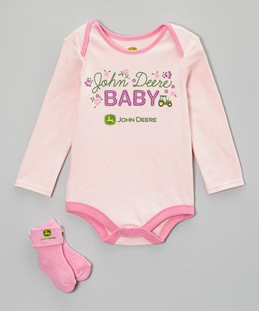Take a look at this Link Pink 'John Deere Baby' Bodysuit & Socks - Infant by John Deere on #zulily today!