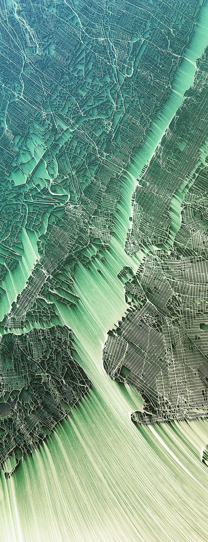 Download Map Indonesia%0A World u    s Cities Transformed into Vibrant  Flowing Maps of Eroded Terrain