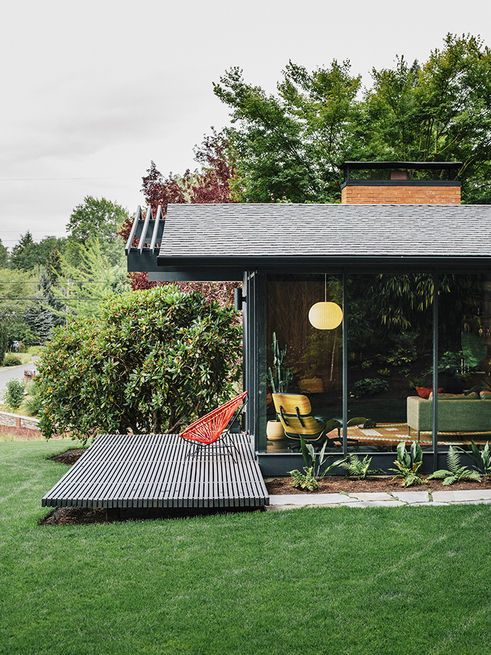 A renovated mid-century - beautiful deck