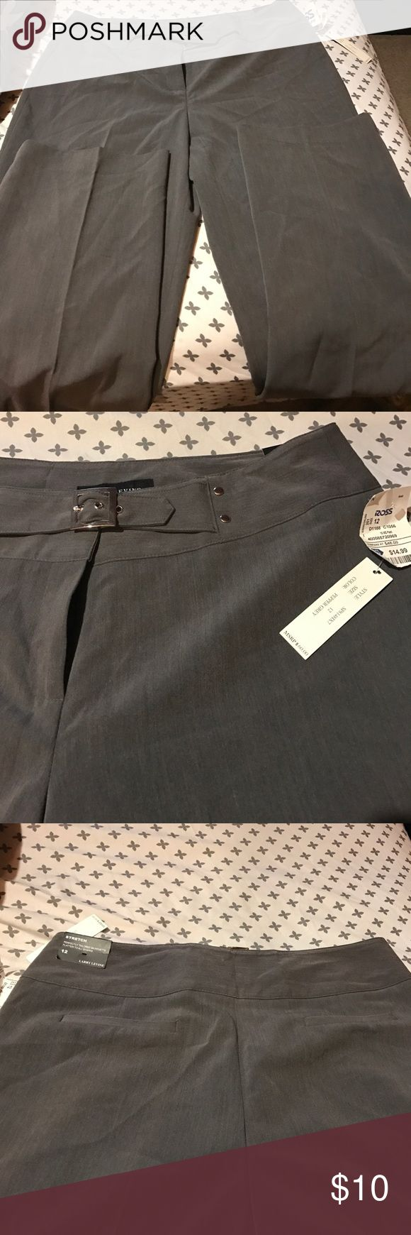 Women pepper grey stretch dress pants with buckle Grey dress pants brand new Larry Levine Pants Trousers