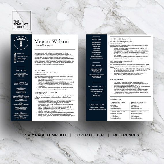 Nurse Resume Template for Word & Pages 1 and 2 page resume