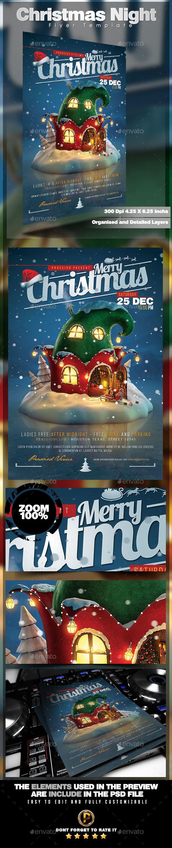 Christmas Night Flyer Template PSD #design #xmas Download: http://graphicriver.net/item/christmas-night-flyer-template/13446690?ref=ksioks
