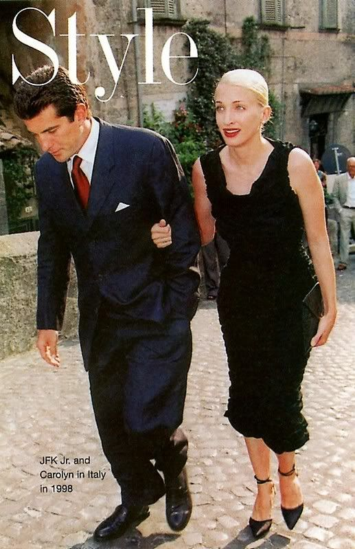 Carolyn Bessette Kennedy & John Jr. attending Rubin Amanpour Wedding in Italy, 1998.