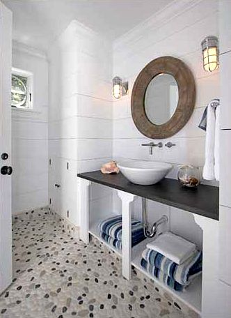 Captivating What A Great Coastal Inspired Bathroom! This Is A Great Bathroom To Inspire  Those Memories From The Beach. The Nautical Looking Sconces Make This  Bathroom A ...