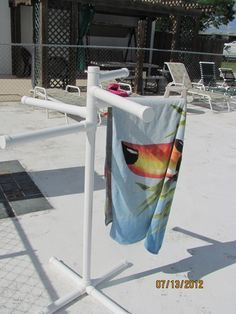 Pvc Pool Side Towel Rack Pvc Pool Pool Towels Diy Pool