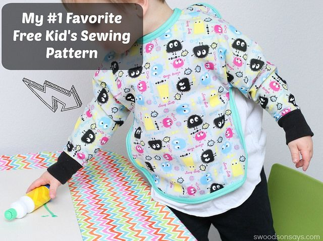 A review and photos of a free long sleeved bib sewing pattern - my most favorite handmade kid item ever!