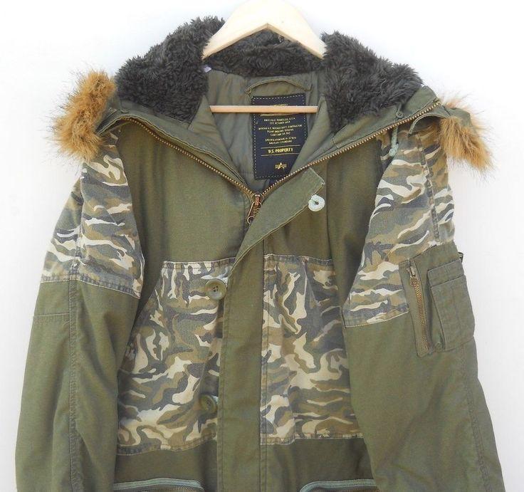 Authentic Alpha Industries Camo Jacket parka cage code 3A382 size L #AlphaIndustries #Parka