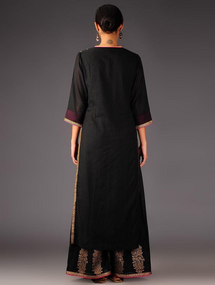 Buy Black Golden Fuschia Khari Handblock Printed Cotton Silk Kurta with Palazzos Set of 2 Online at Jaypore.com