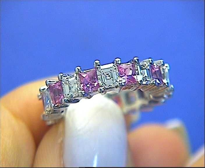 5.50ct Asscher Cut Diamond Pink Sapphire Eternity Ring 18kt White Gold JEWELFORME BLUE