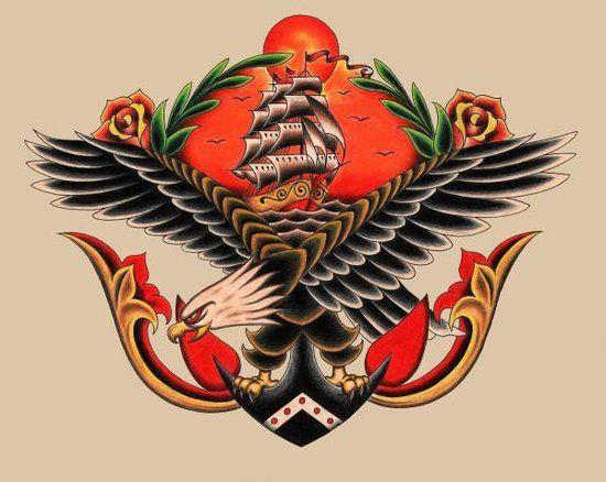 American Traditional Skull And Eagle: Eagle & Ship Tattoo Flash