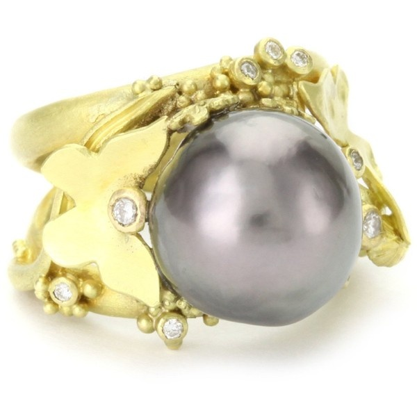 """Whimsical"" 18 Karat Gold Tahiti Pearl and Diamond Ring"