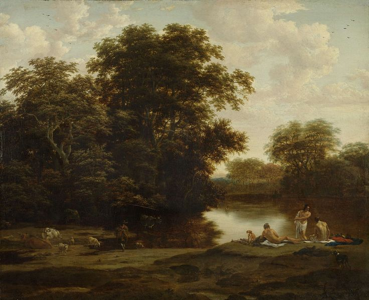 Landscape with Bathers, Joris van der Haagen, 1655 - 1669 oil on canvas, h 70cm × w 85.5cm The oil paint used in this painting makes the water appear lustrous and real.  If the artist would have used pencil, the effect would not have been the same.