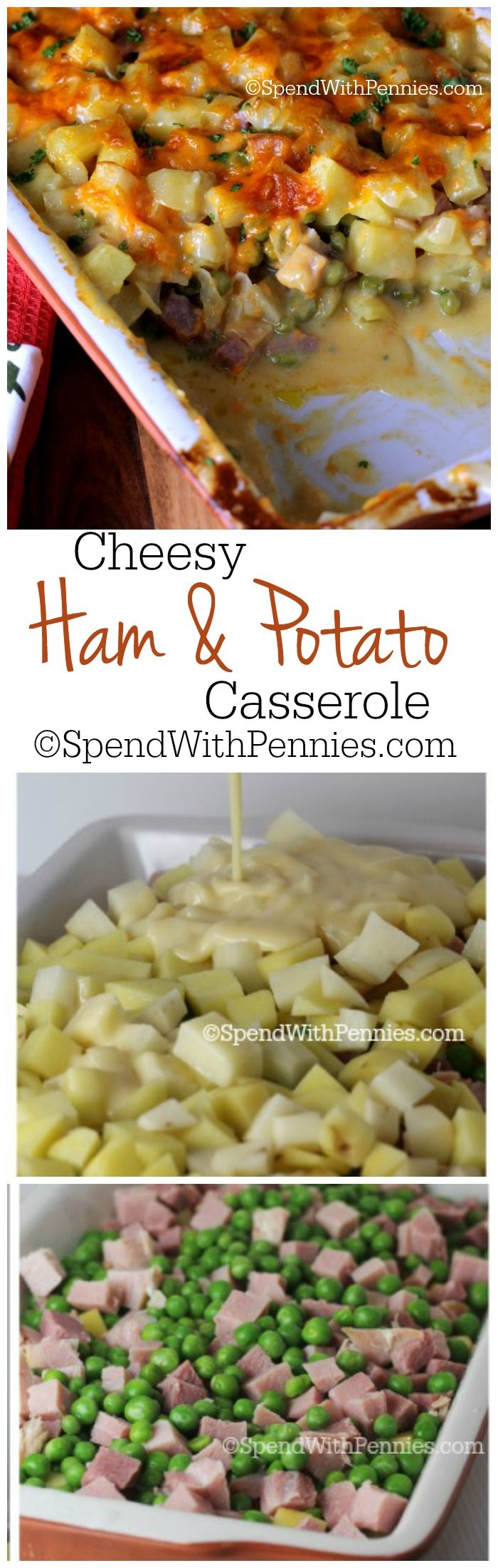 Delicious layers of potatoes, ham & peas smothered in a creamy homemade cheese sauce!! ♥