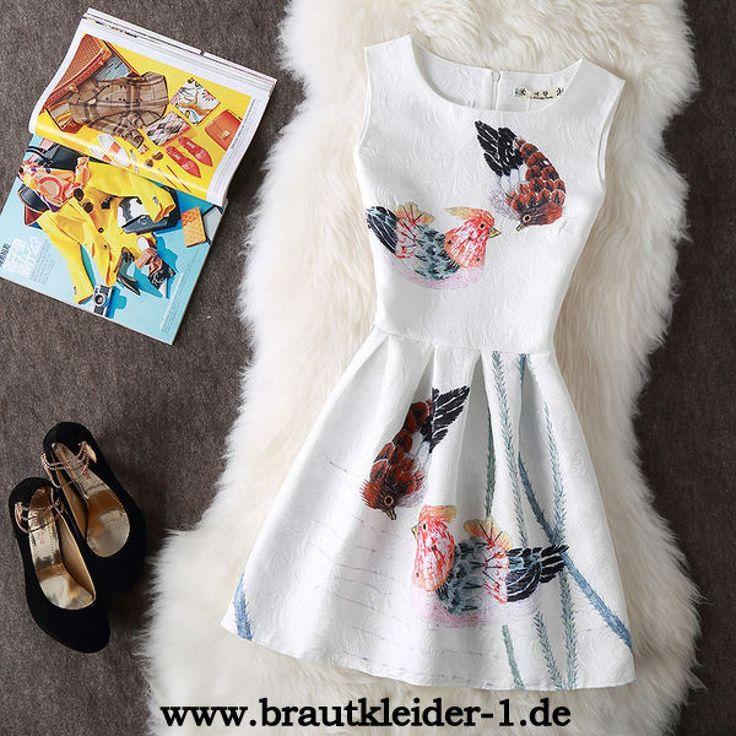 A Linie Standesamt Kleid mit Vintage Druck