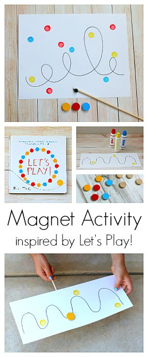 Magnet Activity for Kids inspired by the popular children's book, Let's Play, by Herve Tullet! Kids can explore the science of magnetism while creating art and working on fine motor skills! Perfect for kindergarten and preschool! ~ BuggyandBuddy.com