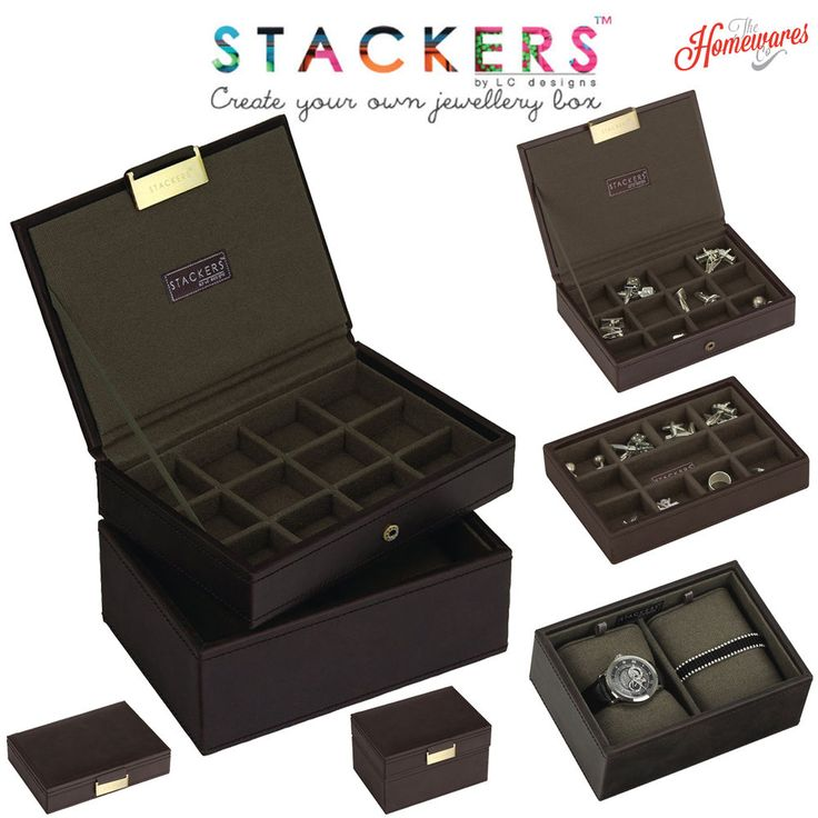 Stackers Jewellery Men's Casual Brown Mini Tray Box Create Your Own Sets  | eBay