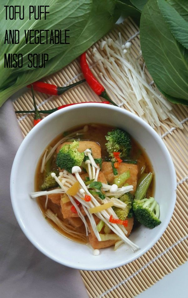 Looking for a great idea for fried tofu puffs? Try this vegetarian (and vegan) tofu puff and vegetable miso soup. Perfect for an appetizer or light dinner.