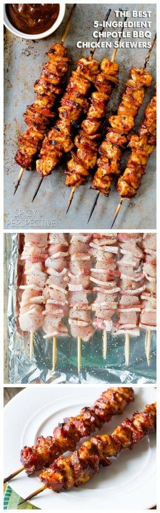 The Best 5-Ingredient Chipotle BBQ Chicken Skewers