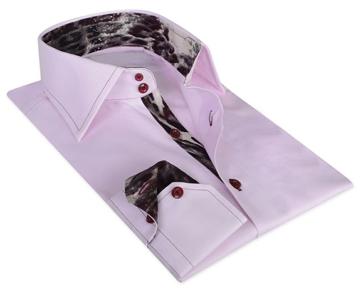 Pink / Dark Grey Cotton Shirt 100% Italian cotton fabric Made in Italy Straight fit (slim fit optional)
