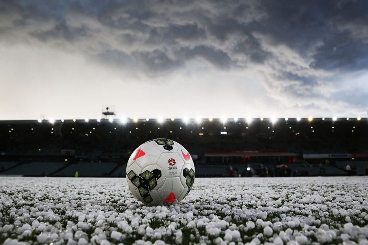 A football sits on a hail stone covered Pirtek Stadium prior to kick off for the round 27 A-League match between the Western Sydney Wanderers and the Perth Glory at Pirtek Stadium.