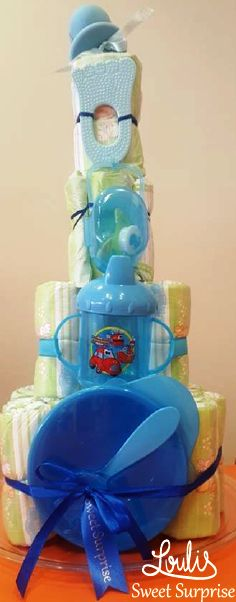 Diaper cake for boys #Loulis_Sweet_Surprise #gift_for_baby #Baby_shower