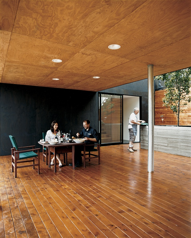 Plywood ceiling. Used right, plywood can be beautiful