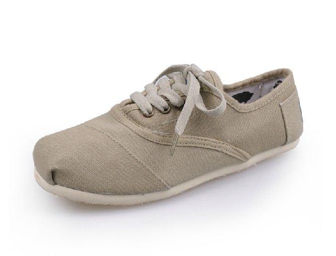 Lace-up khaki classic Cheap Toms couples shoes