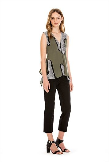 Sleeveless V-Neck Print Top.  this pattern can be good for both H and I body shapes adding curves in all the right places and drawing the eye up and down the body instead of across.