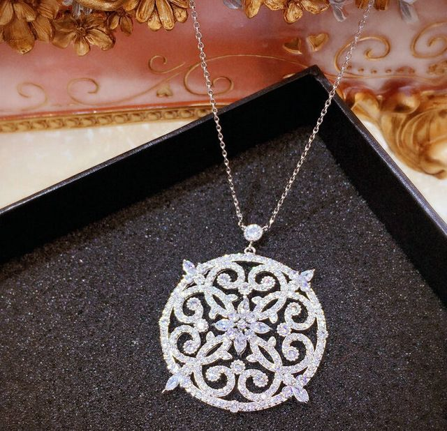 Новый позолоченный корень циркон micro установка полые цветок большой кулон винтаж choker ожерелья для женщин