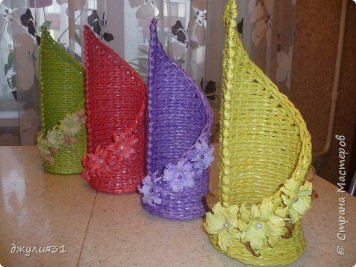Поделка изделие Плетение Радужные бутылочницы Трубочки бумажные фото 10