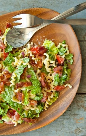 The popular combo of bacon, lettuce and tomato stars in this crowd-pleasing pasta salad. Instead of chopping the cooked bacon, try cutting it with kitchen scissors for thin, even pieces.