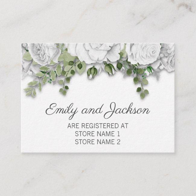 Elegante weiße Blumen- und Grün-Hochzeits-Register-Einschließungs-Karte | Zazzle   – Wedding decorations