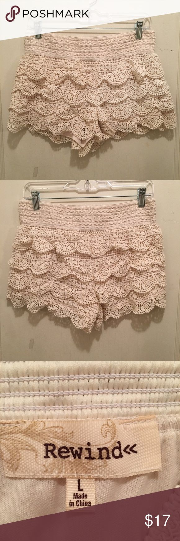 "REWIND Scalloped Cream Shorts These REWIND scalloped cream shorts are perfect for the summer! These have four layers of crocheted scallops and a think crocheted waist band.  Length is 12"" and inseam is 3"". Rewind Shorts"