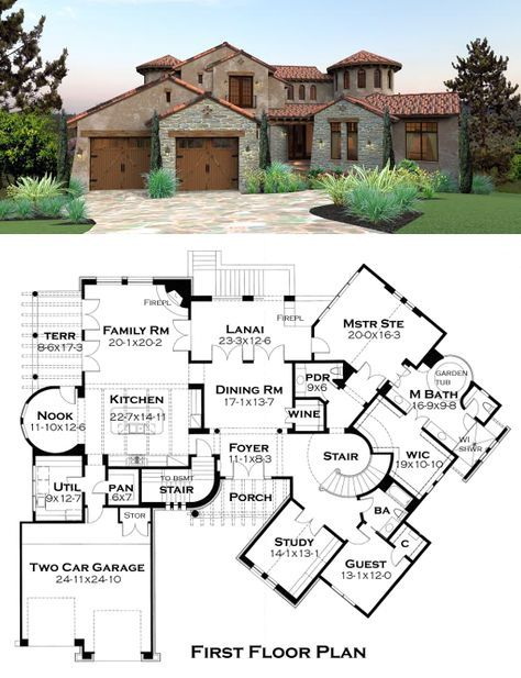 """As you walk into the foyer of #Tuscan #VillaPlan 65881, there is an elegant curved staircase to your right and a wine storage room off the open dining room. The master suite on the first floor includes garden tub, shower, double sinks, and a huge walk-in closet measuring 19' x 10'10""""! Off the family room is a terrace on the left and a lanai with outdoor fireplace on the right. The walk-out basement features a game room."""