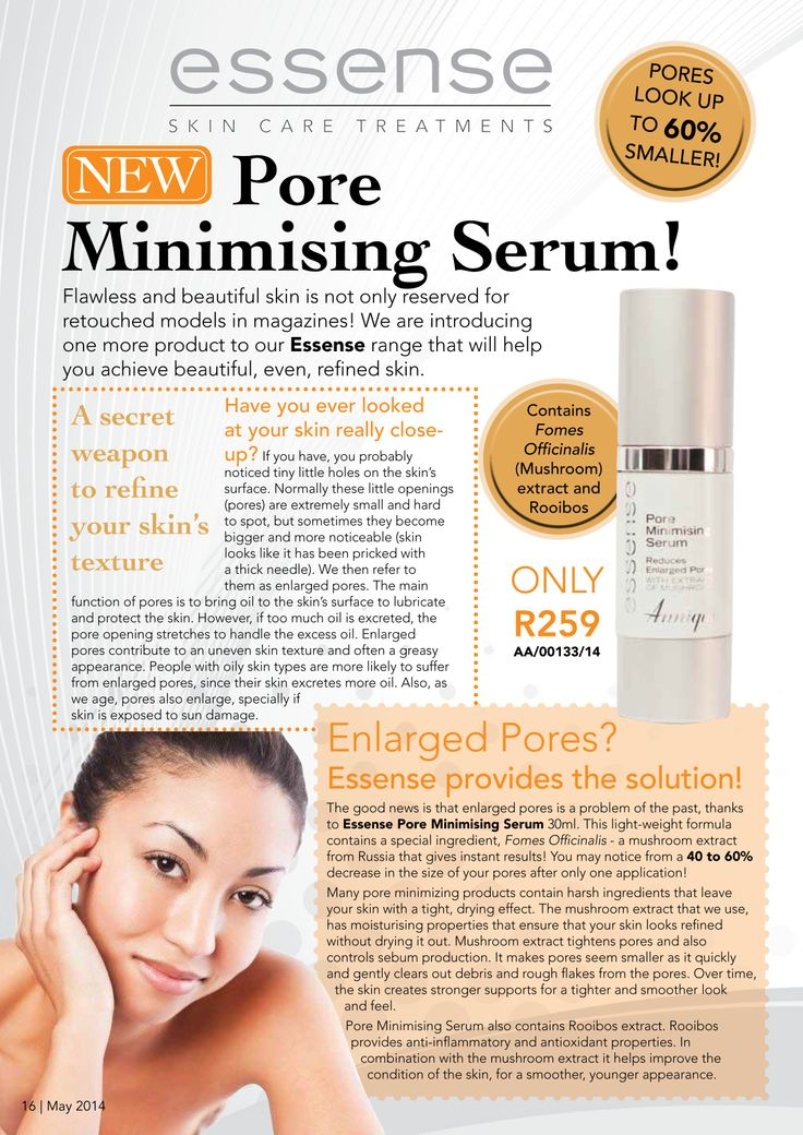 Enlarged Pores? Try the NEW Essence Pore Minimising Serum by Annique available from May 2014 at www.rooibosstore.co.za